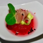 Amuse Bouche: Sashimi tuna: compressed watermelon rose water, avocado, pink peppercorn