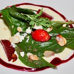 Fortified strawberry & baby spinach salad: warm brie cream, toasted almonds & raspberry vinaigre