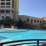 Looking across the main pool to the hotel.