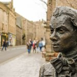 Statue of Scottish Poet Robert Fergusson (1750-1774) outside Kirk of the Canongate by David Whea