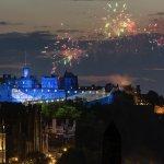 Edinburgh Castle, St Andrew's Cross (Saltire) and Fireworks, Edinburgh Tattoo by David Wheater