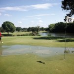 Flooded greens on a sunny day. Go figure.