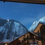 morning light from our bedroom with the light from the Val Veyron lift