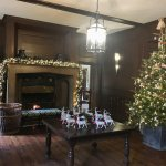 The grand front hall dressed for Christmas