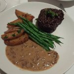 Filet Mignon with herbed potatoes, green beans, and a mushroom sauce that was mmmmmmm so good!