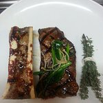roasted marrow bones and New York Strip