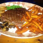 Beef steak with Sweet Potato Fries - huge portion, great food