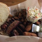 Brisket with fried okra and hush puppies...amazing!