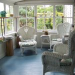 Sun porch; a great place for enjoying a morning cup of coffee or an evening wine!