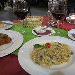 Delicious meal of meatballs & chicken tagliatelle