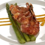Our lovely Tiger Prawns wrapped in pancetta on asparagus...