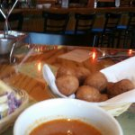 Hushpuppies and Clam chowder for starters....