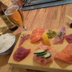 Sashimi et bière Asahi