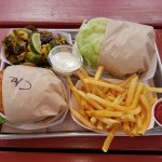 Burger,  fries and fried Brussel Sprouts.