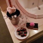 romance package right next to the jaccuzi tub. the bath bomb i provided myself ;)