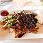 Grilled Skirt Steak Asparagus and Truffle fries