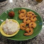 Fried shrimp,mashed potatoe with hush puppy.