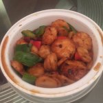 Scallops and vegetables -- tasteless sauce -- scallops and veggies fine