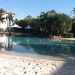 The resort pool, with sandy beach