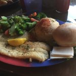 Flounder Special -Fish, Garlic Potatoes, Steamed Veg's, Bread