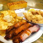 Combo Platter with Ribs, Southern Fried Catfish, House-Fried Potato Chips, Banana Puddin'
