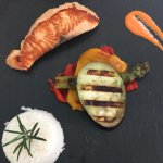 En el restaurante la luna de Santa Rosa... Con las croquetas Madrid fusion del chef Mario , exqu