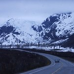 Worthington Glacier - veiws of the surrounding mountains, landscape and the highway near the gla