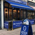 ARCHIPELAGOS FRONT OF THE RESTAURANT, KEEP CALM AND EAT GREEK. THE BEST GREEK RESTAURANT IN BRIG