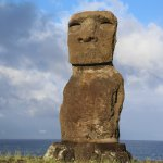 the moai at the end of the road, down the hotel