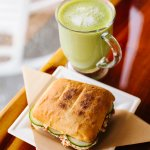 "Hot ""Matcha Matcha"" and cucumber chicken salad sandwhich"