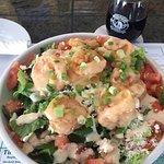 Absolutely amazing ... Bam bam shrimp salad ....I added feta .... sooooooo goood ....with a glas
