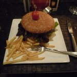 Hamburger - size of a small dinner plate.