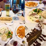 Our dinner of chicken cordon bleu, shrimp bayou and chocolate mousse