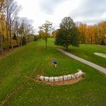 This pic taken from my son's drone as I tee-off from elevated tee on hole #8 (facing the Bay).