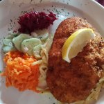 Chicken snitzel with spatzel