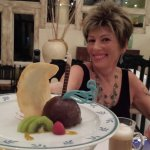 Maryanne loving desserts at Emilianos
