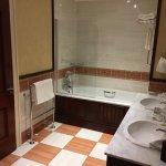 Full bath tub, separate shower, two sinks and Asprey toiletries.