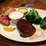 The 14.99 steak and lobster special shown with a sirloin. The fillet and larger cuts cost extra