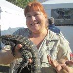 Edisto Serpentarium worker holding a reptile