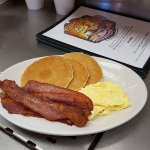 Fresh Fruit Plate,#1 Daily Special 3small Cakes, 2Eggs& Bacon or Sausage