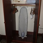 Room 317 wardrobe with safe, iron and ironing board