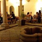 Courtyard Cafe Brujula at night