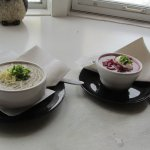 Home made soups - mushroom and borscht