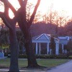Dusk settling on the cemetery