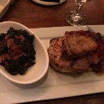 Bacon-wrapped locally raised pork chop and kale