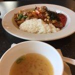 Miso soup and Tropical Teriyaki bowl