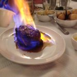 Chateaubriand A succulent cut of fillet topped with brandy and flambéed. Served with Béarnaise s