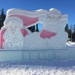 The North Pole Pole  Santas house and the ice sculptures outside