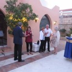 Welcome canapes in sunny courtyard
