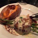 Steak , Crab Cake On Top & Sweet Potato